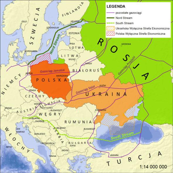 Rosyjskie gazociągi oplatające Europę