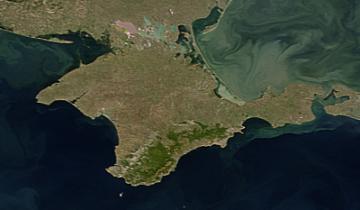 Półwysep krymski widziany z kosmosu. Fot. Wikimedia Commons