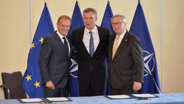 EU Signing Ceremony of the EU-NATO Joint Declaration Tusk Stoltneberg Juncker