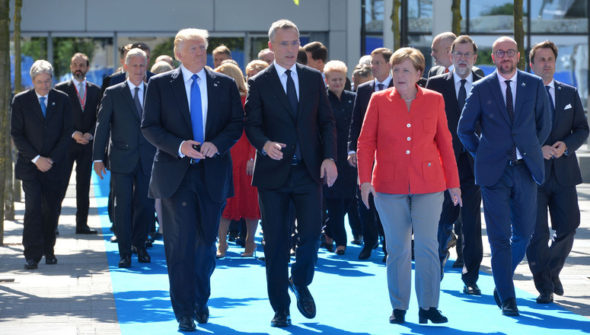 NATO Donald Trump (President, United States), NATO Secretary General Jens Stoltenberg and Angela Merkel (Federal Chancellor, Germany)