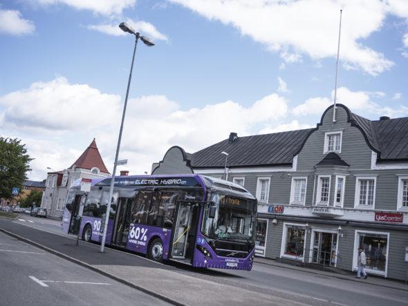 Volvo 7900 Electric Hybrid na ulicach Värnamo