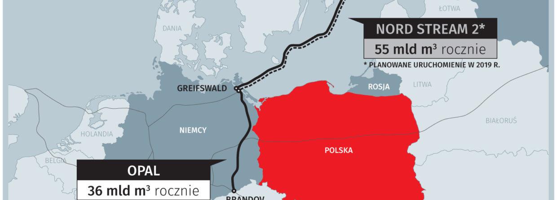 Nord Stream 2 i jego niemiecka odnoga, OPAL. Grafika: BiznesAlert.pl