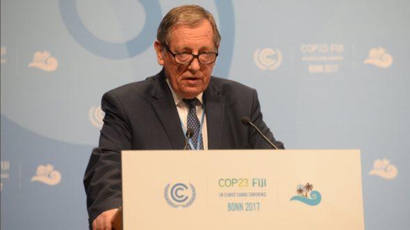 Minister Środowiska, Jan Szyszko podczas konferencji klimatycznej w Bonn. Fot. COP24, Twitter.
