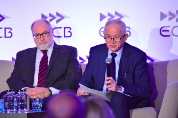 Minister Tchórzewski i prezes URE Maciej Bando na konferencji POWERPOL. Fot.: Ministerstwo Energii