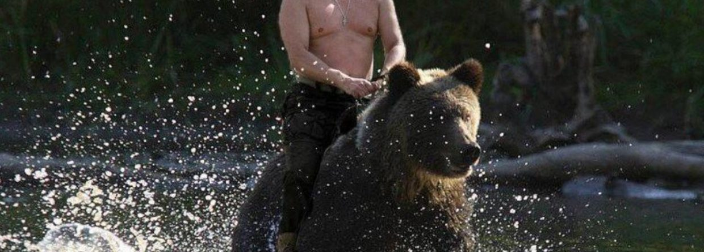 Mem z Putinem na niedźwiedziu (fotomontaż). Fot. Twitter
