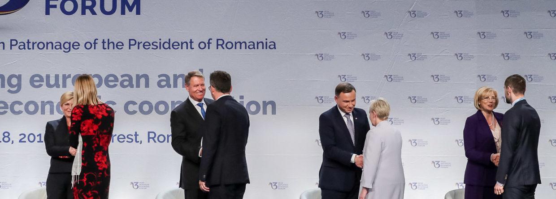 Andrzej Duda i inni przywódcy Trójmorza na szczycie w Bukareszcie. Fot.: Kancelaria Prezydenta