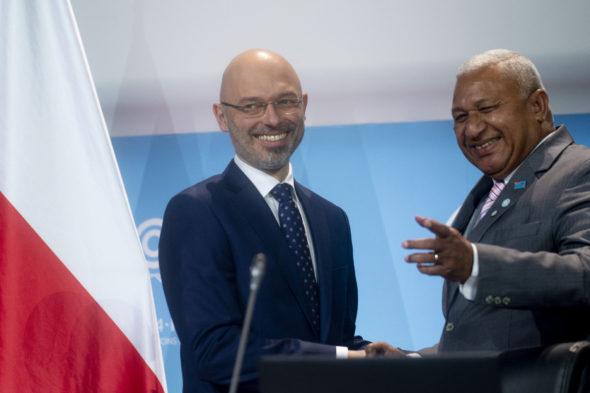 Prezydent COP24 Michał Kurtyka i Frank Bainimarama prezydent COP23 (2) fot. © cop24.gov.pl