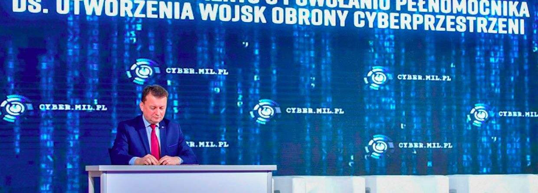 Szef MON Mariusz Błaszczak powołał pełnomocnika ds. utworzenia wojsk obrony cyberprzestrzeni. Źródło: Twitter MON