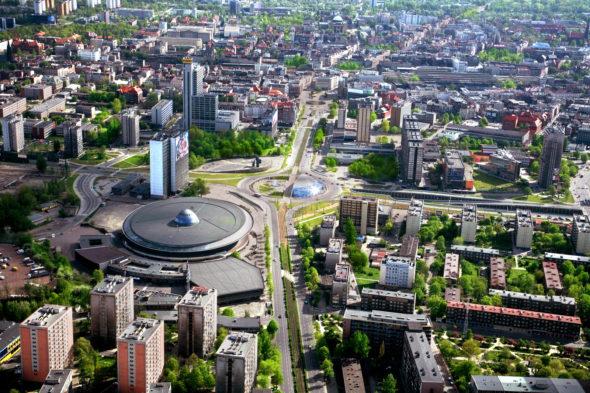 Katowice z lotu ptaka. Źródło: Wikipedia