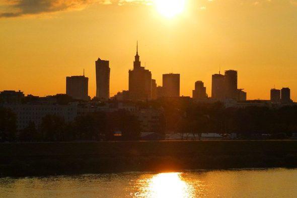Warszawa Wisła zachód słońca