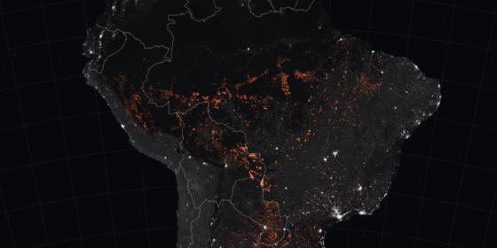 Pożary w Amazonii widziane z kosmosu. Źródło: Wikipedia