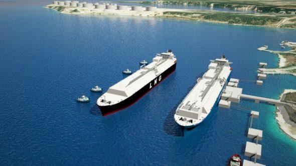 Animacja pokazująca projekt pływającego terminalu LNG w Chorwacji. Fot. LNG Hrvatska
