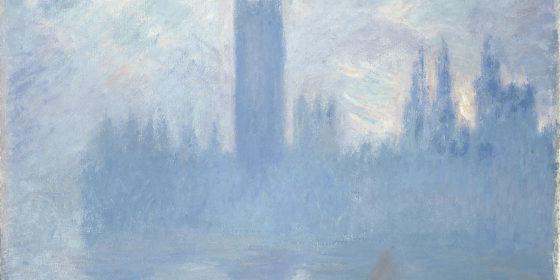 Parlament brytyjski w smogu na obrazie Claude'a Moneta. Źródło Wikipedia