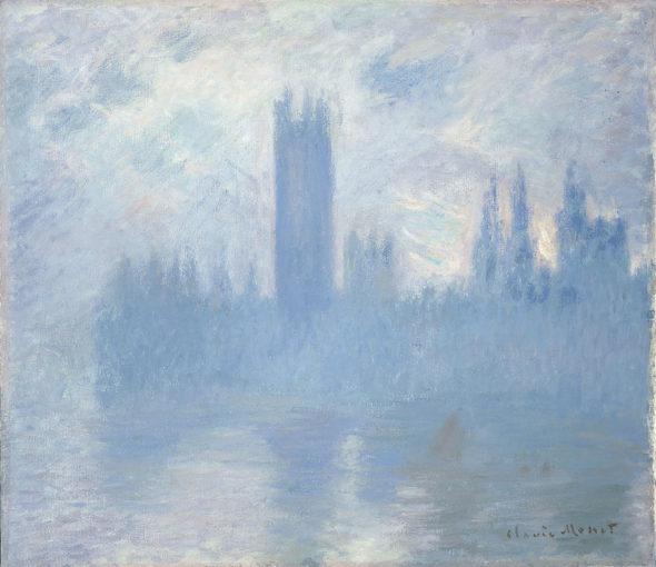 Parlament brytyjski w smogu na obrazie Claude'a Moneta. Źródło: Wikipedia
