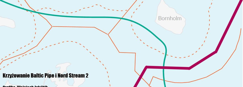 Krzyżowanie Baltic Pipe i Nord Stream 2. Grafika: Wojciech Jakóbik/BiznesAlert.pl