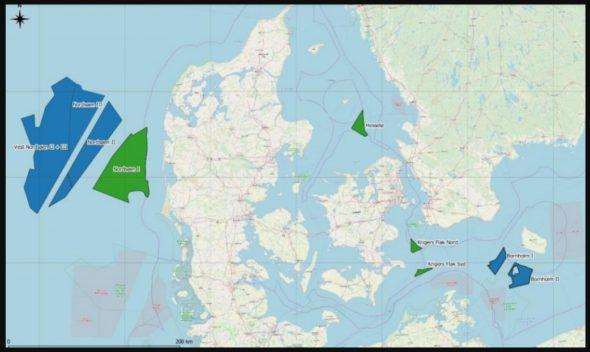 Obszary, które Dania planuje przeznaczyć pod budowę nowych morskich farm wiatrowych i sztucznych wysp energetycznych. Grafika: Duńska Agencja ds. Energii