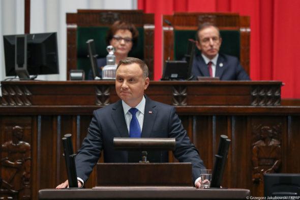 Orędzie Andrzeja Dudy. Źródło: KPRP