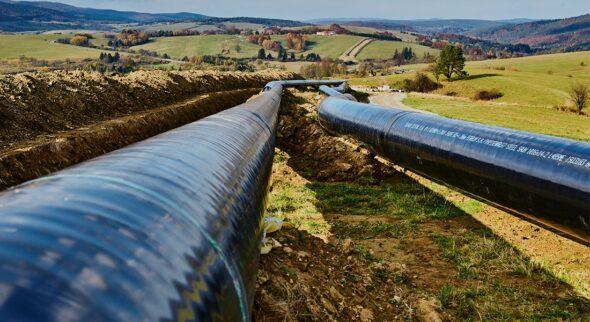 Fot.: Gaz-System,  gazociąg Strachocina – Granica RP, który jest częścią nowego transgranicznego gazociągu.