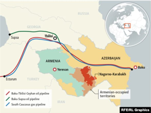 Ropociągi i gazociągi na terenie Azerbejdżanu