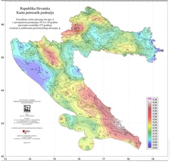 Zagrożenie sejsmiczne Chorwacja