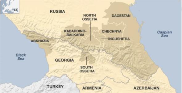 Mapa Północnego Kaukazu