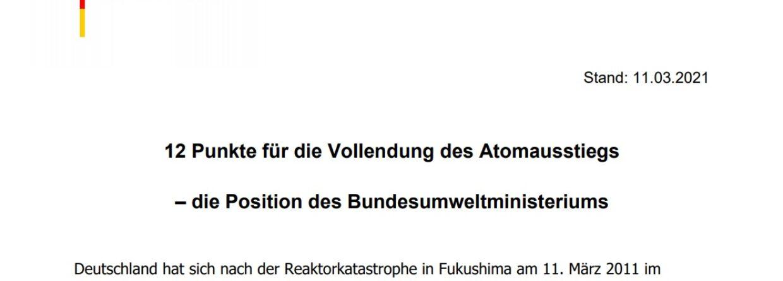 12-punktowy plan denuklearyzacji Europy autorstwa ministerstwa środowiska Niemiec. Fot. Wojciech Jakóbik