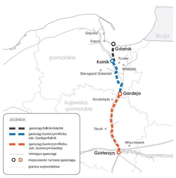 Planowana rozbudowa infrastruktury lądowej, aby rozprowadzać gaz z planowanego FSRU w Gdańsku. Grafika; Gaz-System