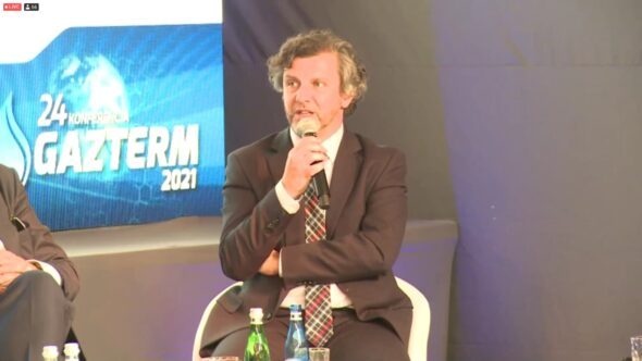 Prezes Towarowej Giełdy Energii Piotr Zawistowski na konferencji Gazterm 2021. Fot. BiznesAlert.pl