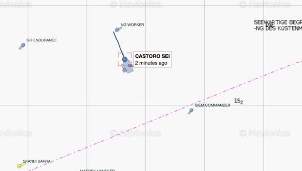 Pozycja Castoro Sei przy granicy morza terytorialnego Polski fot.MarineTraffic