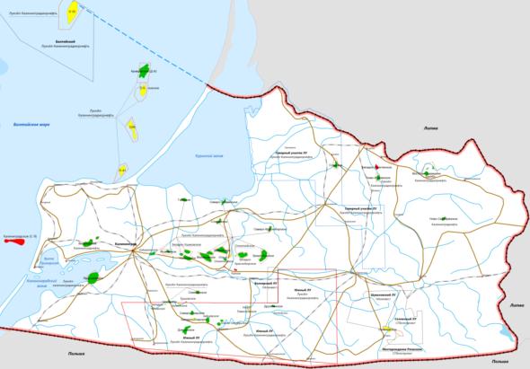 Mapa koncesji wydobywczych w rosyjskiej WSE