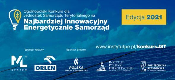 I Ogólnopolski Konkurs dla Jednostek Samorządu Terytorialnego na Najbardziej Innowacyjny Energetycznie Samorząd. Grafika organizatora.