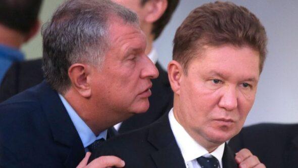 Prezes Rosnieftu Igor Sieczin i Gazpromu Aleksiej Miller fot. Khodorkovskiy Centr