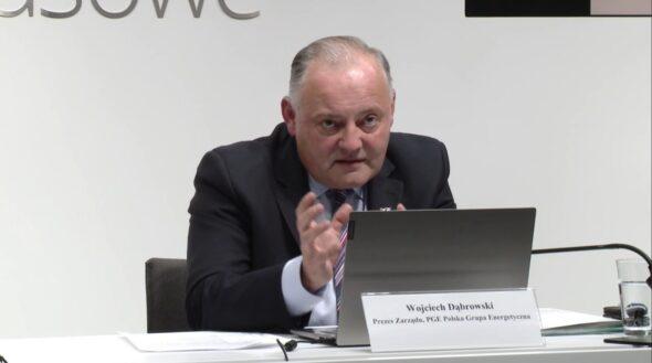 Prezes PGE Wojciech Dąbrowski poczas konferencji wynikowej. Fot. Jędrzej Stachura