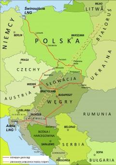 Korytarz Północ-Południe łączący kraje wyszehradzkie z Korytarzem Południowym. Grafika: wjakobik.com