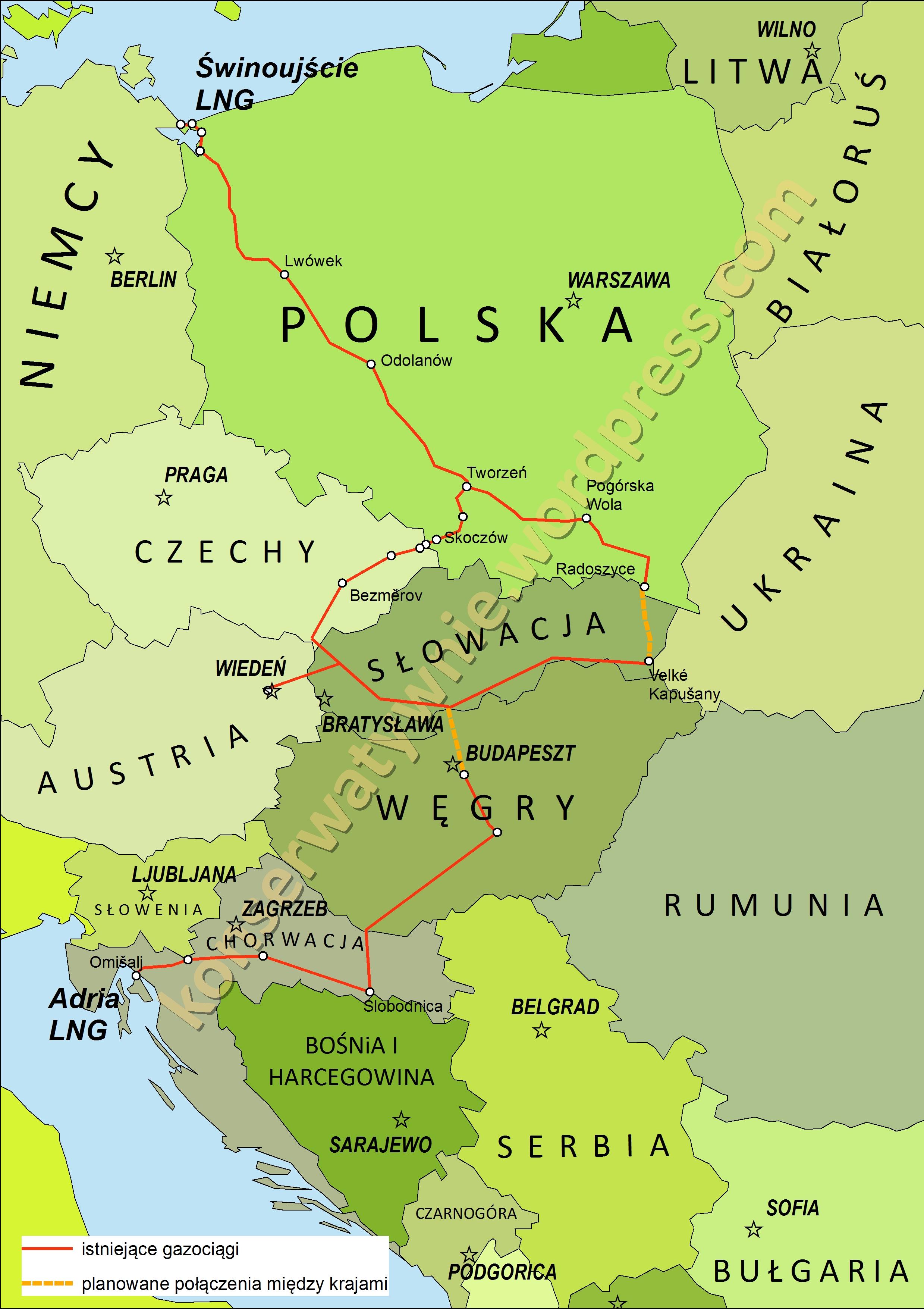 Korytarz Północ-Południe łączący kraje wyszehradzkie z Korytarzem Południowym. Grafika: Konserwatywnie.wordpress.com