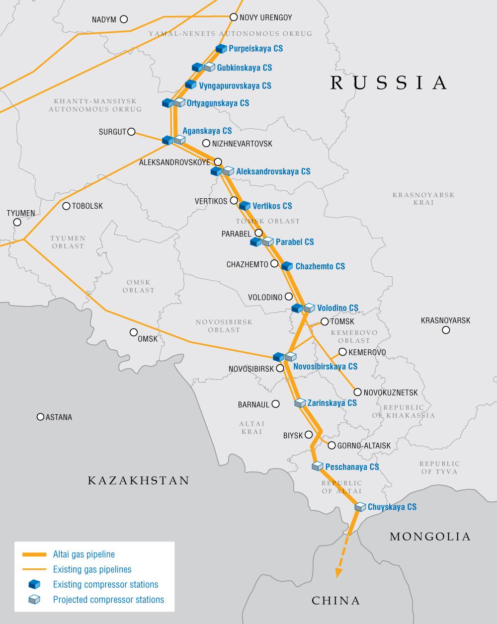 Gazociąg Ałtaj. Grafika: Gazprom.