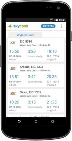 Wybór kursu PKP Intercity w aplikacji SkyCash. Grafika: PKP Intercity.