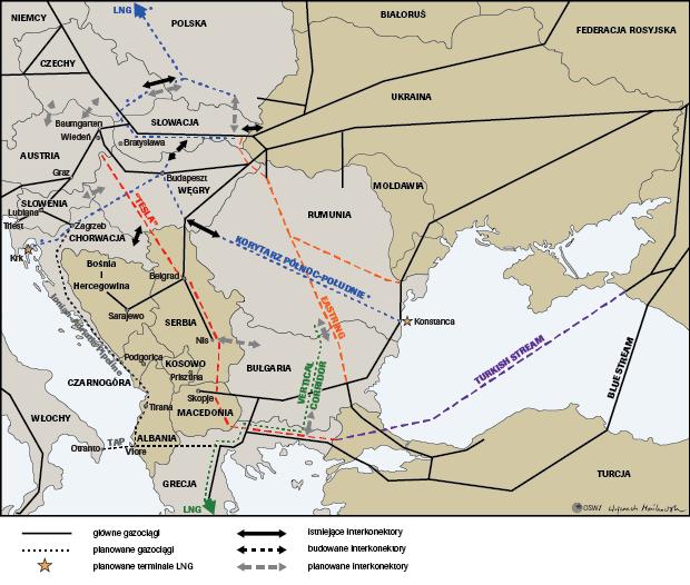 Gazociągi Europa Środkowo-Wschodnia OSW
