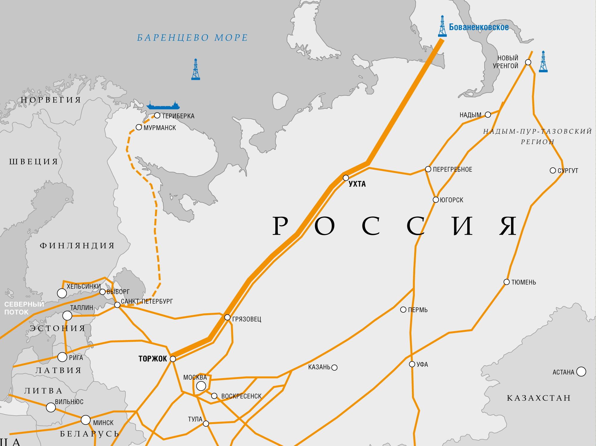 Gazociąg Uchta-Torżok. Źrodło: Gazprom