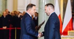 Prezydent Andrzej Duda i minister skarbu państwa Dawid Jackiewicz