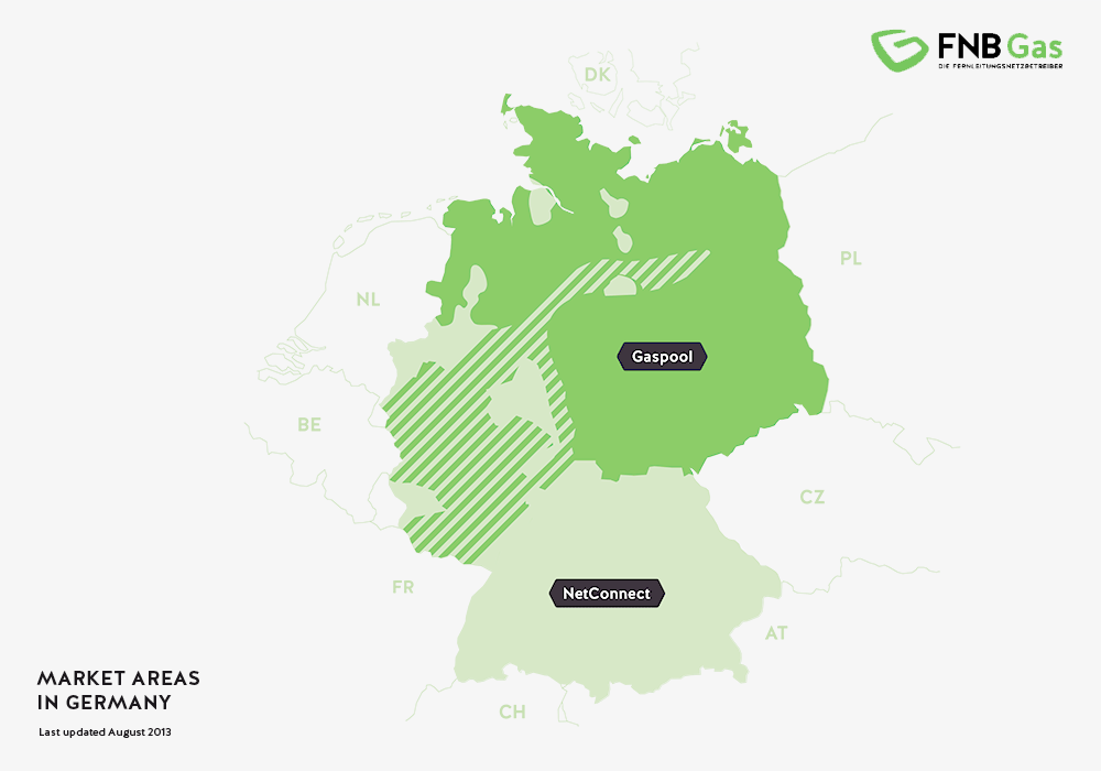 Obszary rynku gazu w Niemczech.