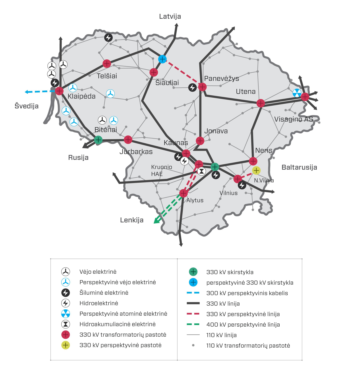 źródło: Litgrid, sieci przesyłowe na Litwie
