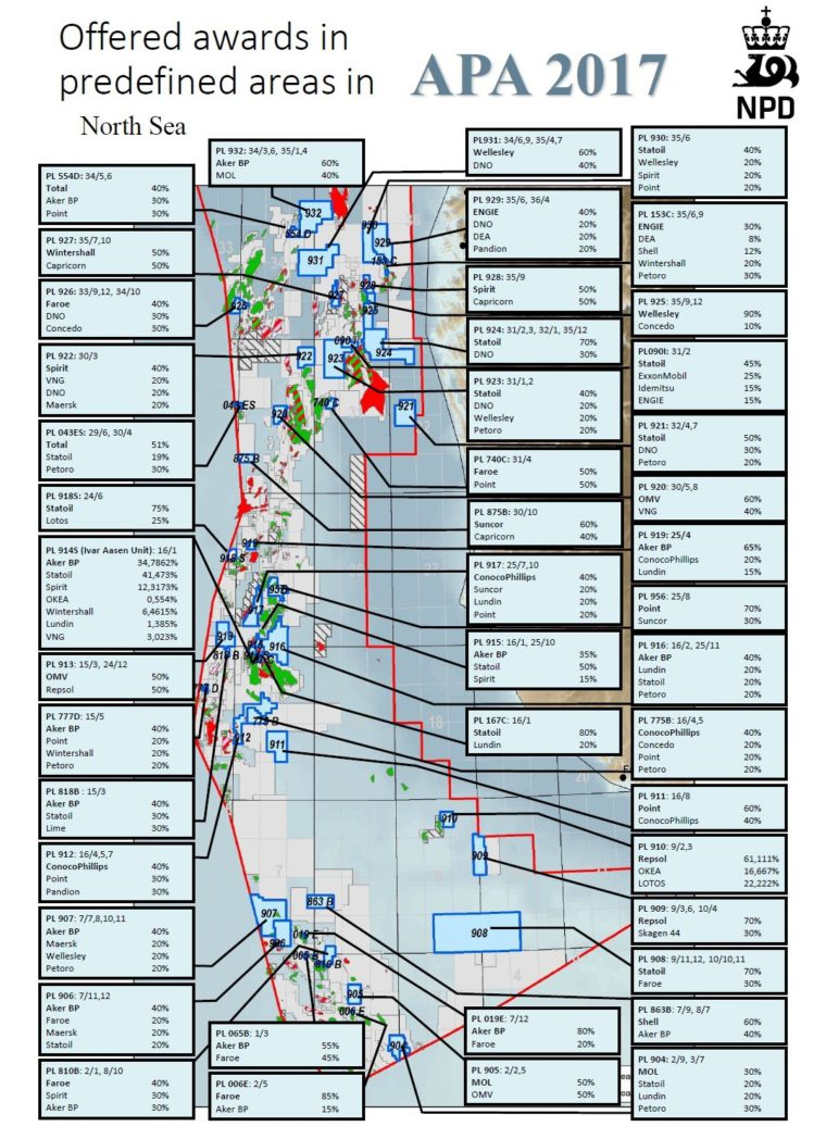 Mapa nowych koncesji przyznanych przez Norwegię Fot. Norweski Dyrektoriat Ropy Naftowej