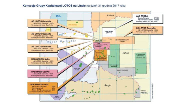 Koncesje Lotosu na Litwie. Grafika: Grupa Lotos