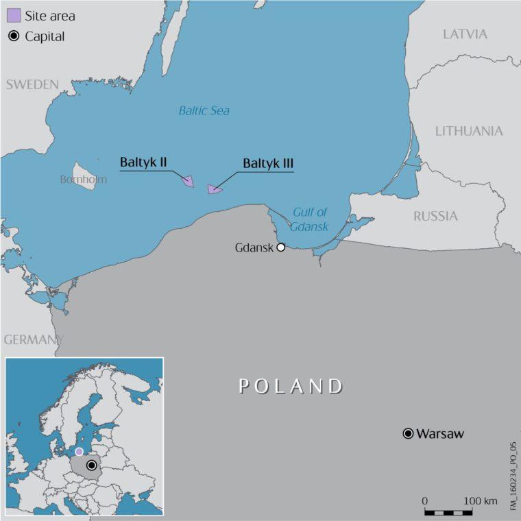 Projekty Bałtyk II i Bałtyk III. Źródło: Statoil