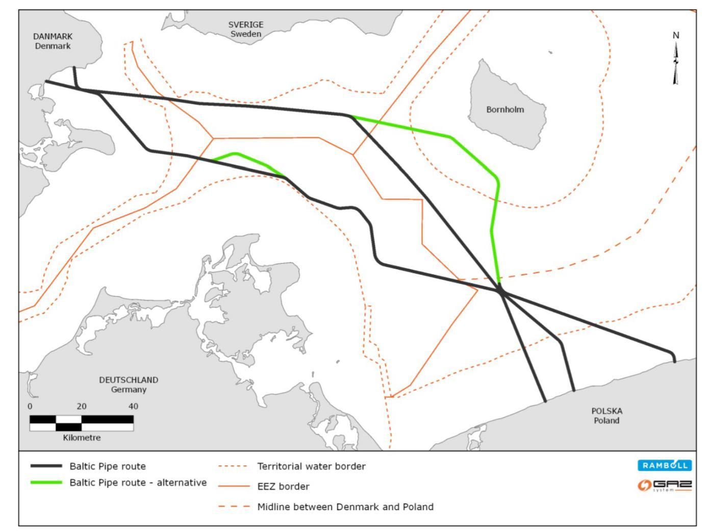 Proponowane trasy przebiegu Baltic Pipe. Źródło: Gaz-System, Ramboll