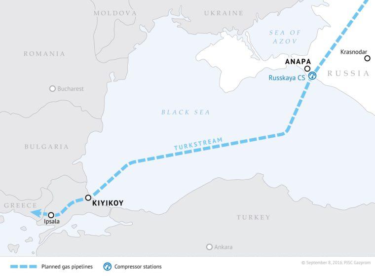 Trasa przebiegu Turkish Stream. Fot. Gazprom