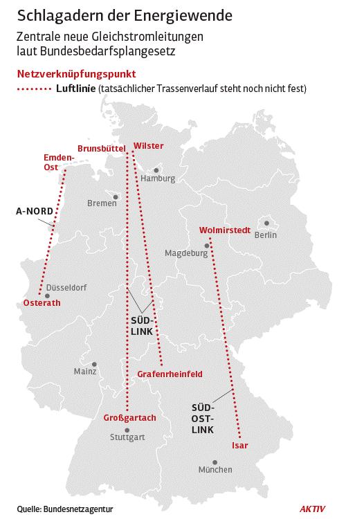 Rozwój sieci w środkowych Niemczech. Źródło: Bundesnetzagentur, www.aktiv-online.de