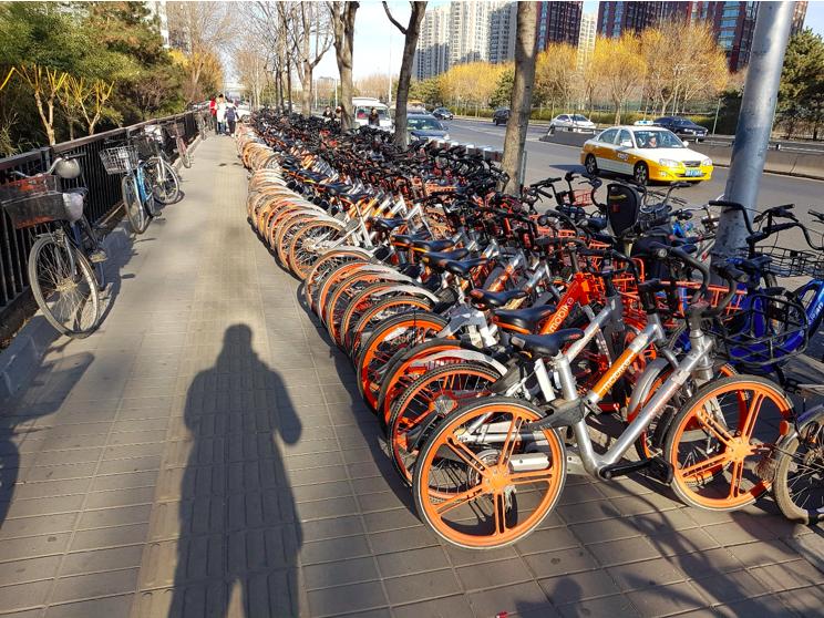 Skupisko rowerów miejskich przy stacji metra