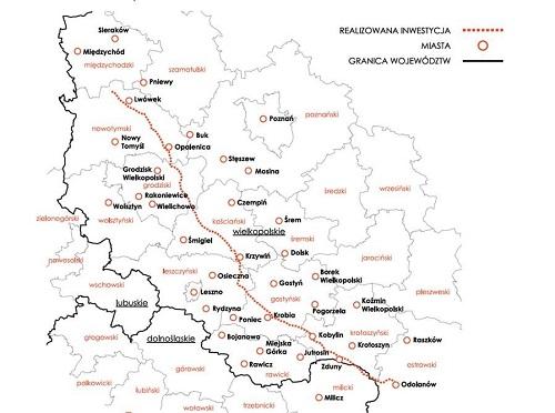 Grafika: Gaz - System. Gazociąg Lwówek - Odolanów
